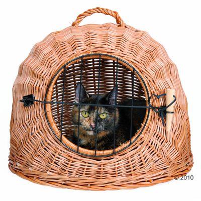 panier de transport pour chat en osier